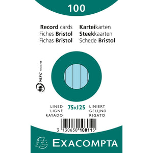 Exacompta Record Cards - Blue Lined