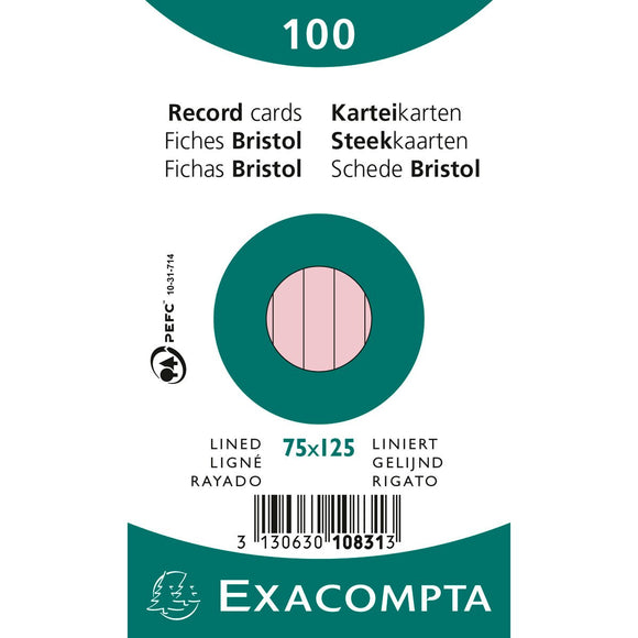 Exacompta Record Cards - Pink Lined
