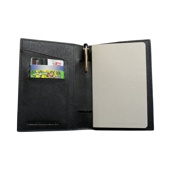 Pebble Leather Notebook Cover - Black