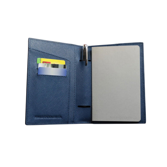Pebble Leather Notebook Cover - Navy