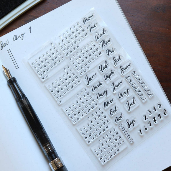 Pebble Calendar Stamp Kit - Brush Font