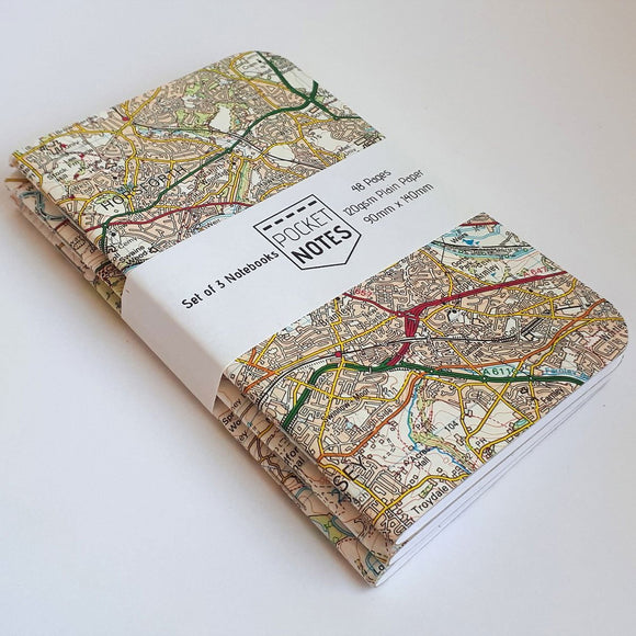 PocketNotes - OS Map Cover Notebooks - 3 Pack