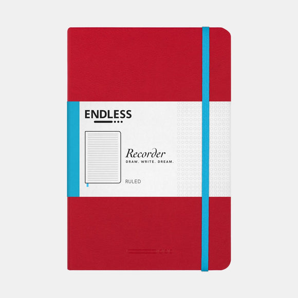 Endless Recorder Notebook - A5 Ruled Crimson Sky