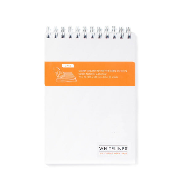 Whitelines - Wiretop A6 Notepad Lined