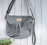 "Fernweh UK: ""Raineach"" Hand Printed Duck Canvas Bag - Slate/Fern Print"