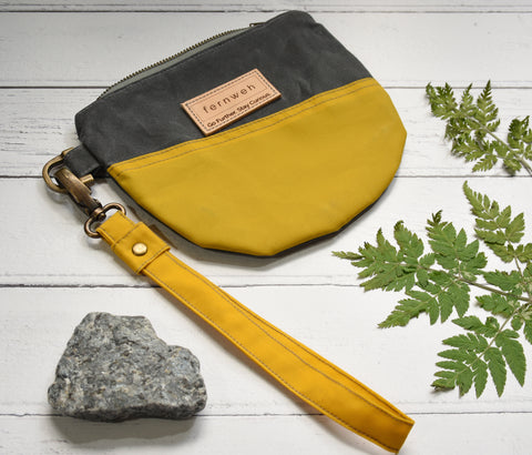 Fernweh UK Waxed Cotton Canvas Wristlet - Yellow/Grey