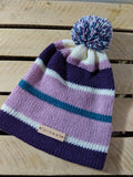 Fernweh UK - Merino Wool Stripe Hat - Pink/Purple/Kingfisher/Cream