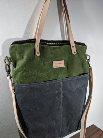 Fernweh UK - Green/Grey Waxed Cotton Canvas Cross Body Tote Bag