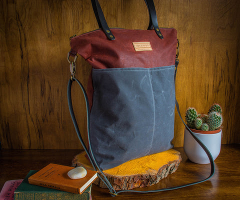 Fernweh UK - Rust/Grey Waxed Cotton Canvas Cross Body Tote Bag