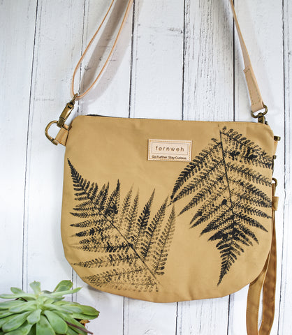 "Fernweh UK: ""Raineach"" Hand Printed Duck Canvas Bag - Sand/Fern Print"