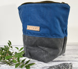 Fernweh UK - Waxed Cotton Canvas Medium Zipper Pouch - Blue/Grey