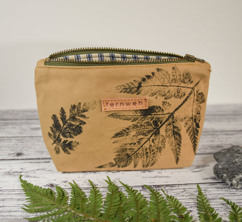 Fernweh UK - Hand Printed Duck Canvas Small Zipper Pouch - Fern Print/Sand