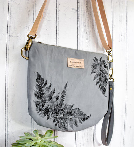 "Fernweh UK: ""Raineach"" Hand Printed Duck Canvas Bag - Slate"