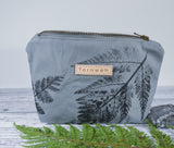 Fernweh UK - Hand Printed Duck Canvas Small Zipper Pouch - Fern Print/Slate