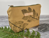 Fernweh UK - Hand Printed Duck Canvas Small Zipper Pouch - Leaf Print/Sand