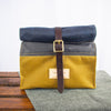 Fiadhaich Waxed Canvas Lunch Bag - Navy/Grey/Ochre