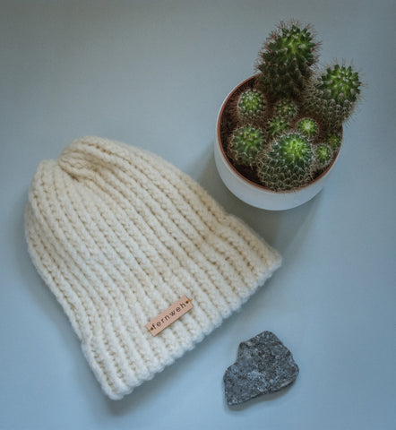 "Fernweh UK ""NIVEN"" Chunky Hand Knit Merino/Alpaca Wool Hat - Cream"