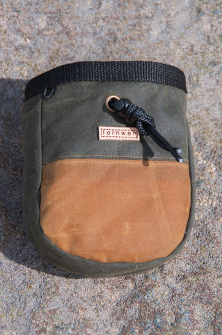 Olive Tan Handmade Wax Cotton Chalk Bag