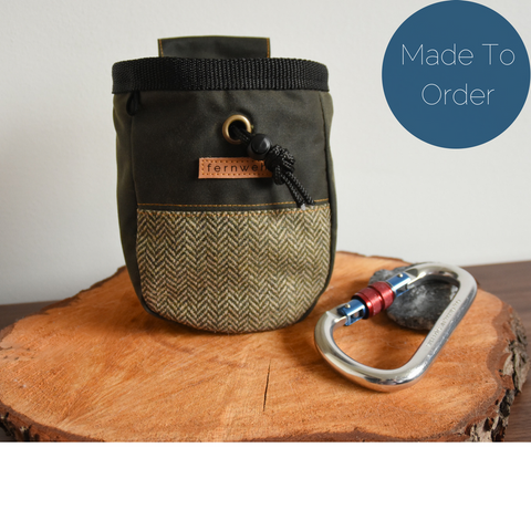 Fernweh UK Waxed Cotton Canvas Chalk Bag - Olive/Tweed