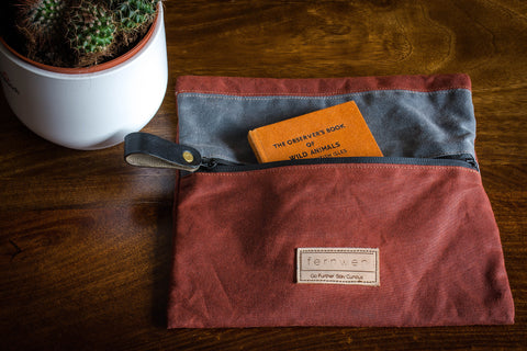 Fernweh UK - Waxed Cotton Canvas Outdoor Pouch - Rust/Grey