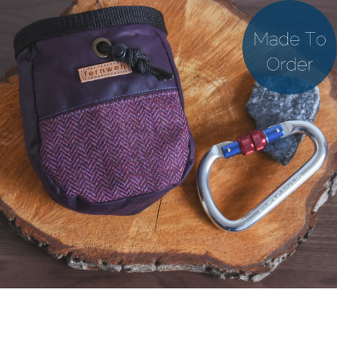 Fernweh UK Waxed Cotton Canvas Chalk Bag - Purple/Tweed