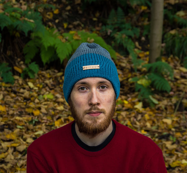 Fernweh UK - Kingfisher & Grey Unisex Merino Knit Beanie