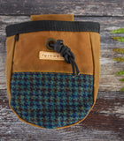 Fernweh UK Waxed Cotton Canvas Chalk Bag - Tan/Harris Tweed *LIMITED*