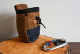 Fernweh UK Wax Cotton Rock Climbing Chalk Bag - Tan/Navy