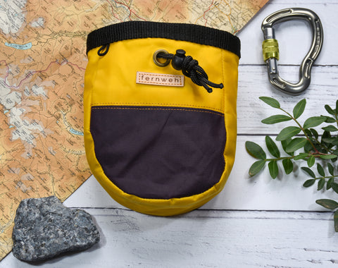 Fernweh UK - Waxed Cotton Canvas Chalk Bag - Yellow/Purple