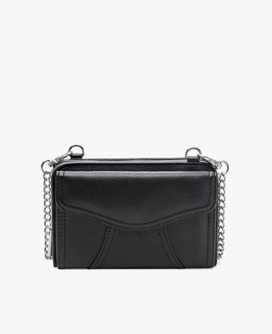 Marie Diabetes Mini Crossbody - Black with Silver Hardware
