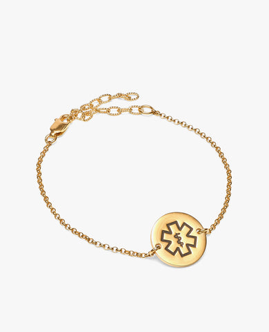Sarah Diabetes Bracelet - Gold Vermeil