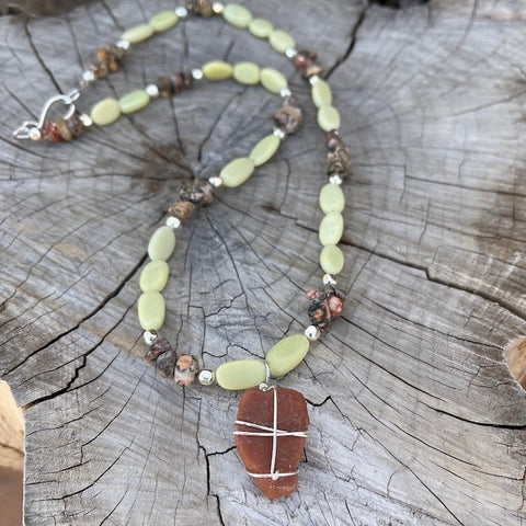 Adventure Collection wire-wrapped stone pendant necklace with chrysoprase ovals and jasper chips