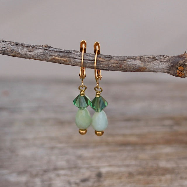 Amazonite drop earrings with Swarovski crystals and gold-filled ear wires