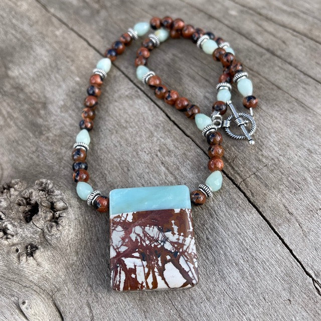 Amazonite and jasper stone pendant necklace with goldstone and Thai silver