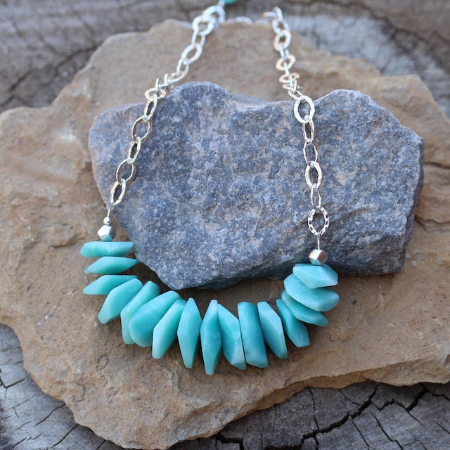 Bib style necklace with amazonite tiles on sterling silver hammered chain