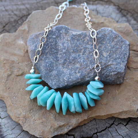 Bib-style statement necklace with amazonite tiles and sterling silver chain