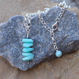 Wire-wrapped stack pendant of aqua blue amazonite nuggets on sterling chain