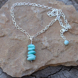 Hand wire-wrapped amazonite stack pendant necklace on sterling silver chain