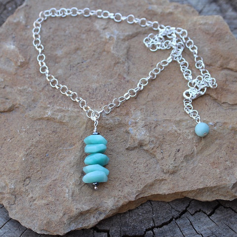 Amazonite nuggets stack pendant necklace