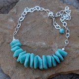 Bib style statement necklace with amazonite nuggets on sterling hammered chain