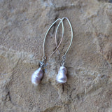 Elegant baroque pearl earrings with gray Swarovski crystals on long oval silver-plated ear wires