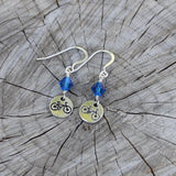 bike charm earrings with blue Swarovski crystals and sterling ear wires