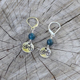 bike charm earrings with apatite rounds and sterling lever back ear wires
