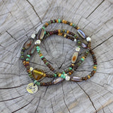 Bike charm stretch necklace or triple wrap bracelet with brown mix of beads and abalone shell accents