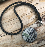 "Black silk agate stone pendant necklace on rubber cord with silver ""hope"" charm"