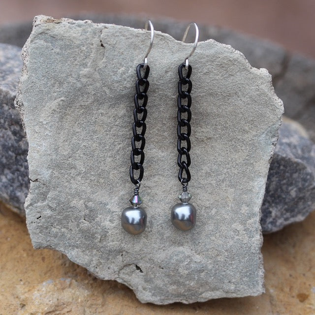 Earrings with black chain and Swarovski pearls and crystals.