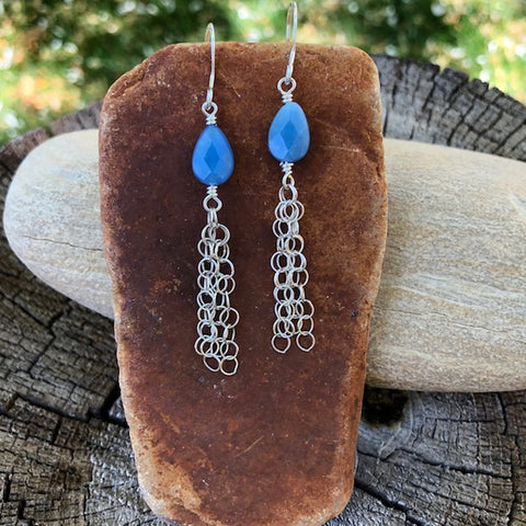 Blue agate drops with sterling chain tassel earrings