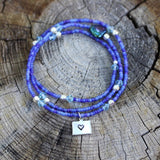 Stretch necklace or triple wrap bracelet with blue seed beads and silver plated Colorado heart charm