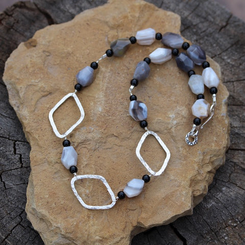 Statement necklace with Botswana agate and sterling silver links