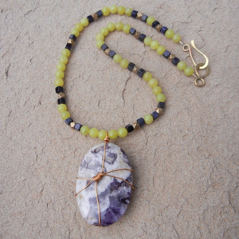 Bronze wire-wrapped amethyst matrix pendant with serpentine necklace